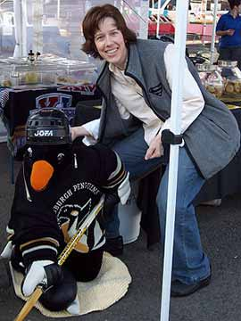 Annie with the penguin